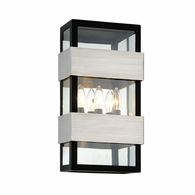 B6523 Troy Stainless Steel Exterior Dana Point 3Lt Wall with Black With Brushed Stainless Finish
