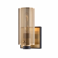 B6871 Troy Hand-Worked Iron Interior Pilsen 1Lt Wall Sconce with Modern Bronze And Aged Brass Finish