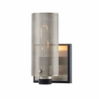 B7111 Troy Hand-Worked Iron Interior Pilsen 1Lt Wall Sconce with Carbide Black w/Satin Nickel Accents Finish