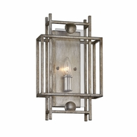 B7131 Troy Hand-Worked Iron Interior Crosby 1Lt Wall Sconce with Antique Silver Leaf Finish