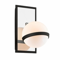 B7161 Troy Hand-Worked Iron Interior Ace 1Lt Wall Sconce with Carbide Black w/Polished Nickel Accents Finish
