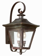 B8930CI Troy Solid Brass Exterior Oxford 2Lt Wall Lantern Medium with Charred Iron Finish