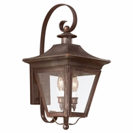 B8930NR Troy Solid Brass Exterior Oxford 2Lt Wall Lantern Medium with Natural Rust Finish