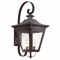 B8933CI Troy Solid Brass Exterior Oxford 3Lt Wall Lantern Large with Charred Iron Finish