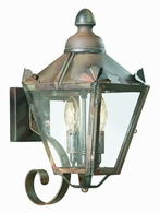 B8940CI Troy Solid Brass Exterior Preston 2Lt Wall Lantern Small with Charred Iron Finish