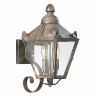 B8940NR Troy Solid Brass Exterior Preston 2Lt Wall Lantern Small with Natural Rust Finish