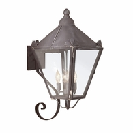 B8946CI Troy Solid Brass Exterior Preston 4Lt Wall Lantern Large with Charred Iron Finish