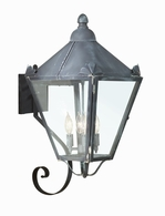 B8946NR Troy Solid Brass Exterior Preston 4Lt Wall Lantern Large with Natural Rust Finish
