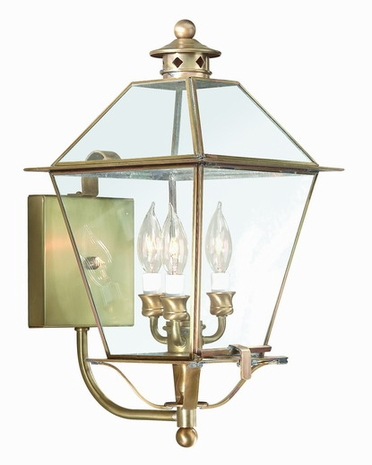 B8954NR Troy Solid Brass Exterior Montgomery 3Lt Wall Lantern Large with Natural Rust Finish