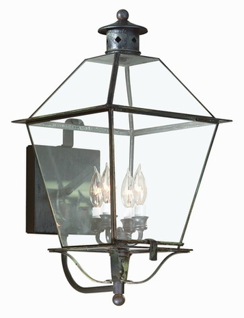 B8957NAB Troy Solid Brass Exterior Montgomery 4Lt Wall Lantern Extra Large with Natural Aged Brass Finish