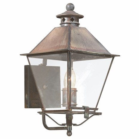 B9131NR Troy Solid Brass Exterior Montgomery 1Lt Wall Lantern Medium with Natural Rust Finish