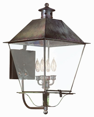 B9140CI Troy Solid Brass Exterior Montgomery 4Lt Wall Lantern Extra Extra Large with Charred Iron Finish