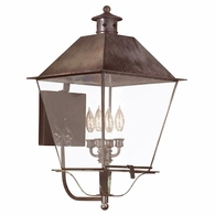 B9140NR Troy Solid Brass Exterior Montgomery 4Lt Wall Lantern Extra Extra Large with Natural Rust Finish