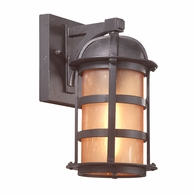 B9250NB Troy Hand-Worked Iron Exterior Aspen 1Lt Wall Lantern Medium with Natural Bronze Finish
