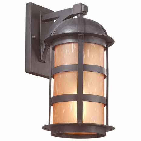 B9253NB Troy Hand-Worked Iron Exterior Aspen 1Lt Wall Lantern Large with Natural Bronze Finish