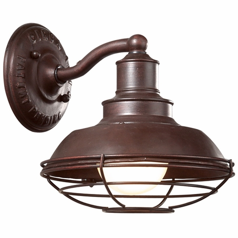 B9270OR Troy Hand-Forged Iron Exterior Circa 1910 1Lt Wall Down Light Medium with Old Rust Finish