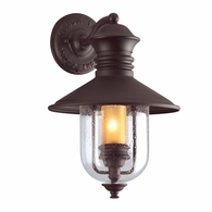 B9360NB Troy Hand-Forged Iron Exterior Old Town 1Lt Wall Lantern Medium with Natural Bronze Finish