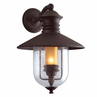 B9361NB Troy Hand-Forged Iron Exterior Old Town 1Lt Wall Lantern Large with Natural Bronze Finish