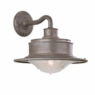 B9391OG Troy Hand-Forged Iron Exterior South Street 1Lt Wall Downlight Medium with Old Galvanized Finish