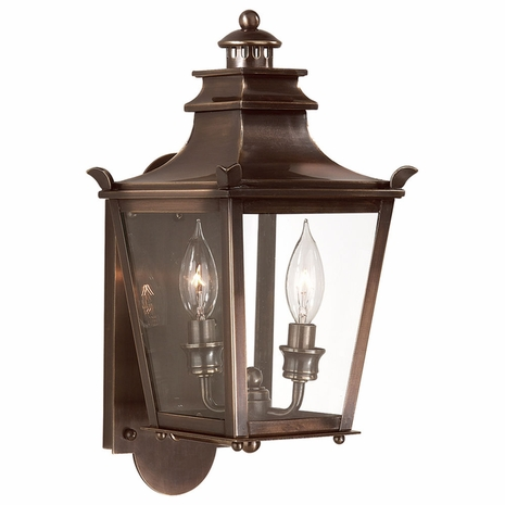 B9490EB Troy Solid Brass Exterior Dorchester 2Lt Wall Lantern Small with English Bronze Finish