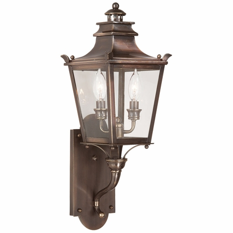 B9491EB Troy Solid Brass Exterior Dorchester 2Lt Wall Lantern Small with English Bronze Finish