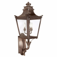 B9493EB Troy Solid Brass Exterior Dorchester 3Lt Wall Lantern Medium with English Bronze Finish
