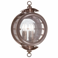 B9502HB Troy Solid Brass Exterior Charleston 2Lt Wall Lantern Large with Heritage Bronze Finish