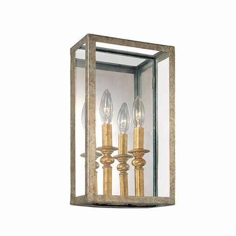 B9992GSL Troy Hand-Worked Iron Interior Morgan 2Lt Wall Sconce with Gold Silver Leaf Finish