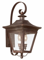BCD8930NR Troy Solid Brass Exterior Oxford 2Lt Wall Lantern Medium with Natural Rust Finish