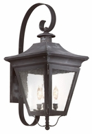 BCD8933CI Troy Solid Brass Exterior Oxford 3Lt Wall Lantern Large with Charred Iron Finish