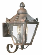 BCD8940NR Troy Solid Brass Exterior Preston 2Lt Wall Lantern Small with Natural Rust Finish