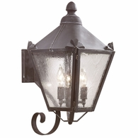 BCD8943CI Troy Solid Brass Exterior Preston 3Lt Wall Lantern Medium with Charred Iron Finish