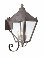 BCD8946CI Troy Solid Brass Exterior Preston 4Lt Wall Lantern Large with Charred Iron Finish