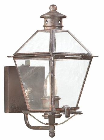 BCD8950NR Troy Solid Brass Exterior Montgomery 1Lt Wall Lantern Small with Natural Rust Finish