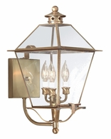 BCD8954NAB Troy Solid Brass Exterior Montgomery 3Lt Wall Lantern Large with Natural Aged Brass Finish