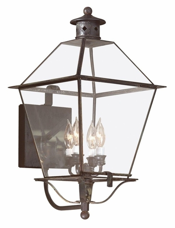 BCD8957CI Troy Solid Brass Exterior Montgomery 4Lt Wall Lantern Extra Large with Charred Iron Finish
