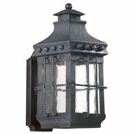 BCD8970NB Troy Hand-Forged Iron Exterior Dover 1Lt Wall Lantern Small with Natural Bronze Finish