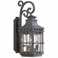 BCD8971NB Troy Hand-Forged Iron Exterior Dover 3Lt Wall Lantern Medium with Natural Bronze Finish