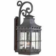 BCD8974NB Troy Hand-Forged Iron Exterior Dover 4Lt Wall Lantern Large with Natural Bronze Finish