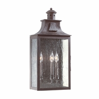 BCD9009OBZ Troy Hand-Forged Iron Exterior Newton 3Lt Wall Pocket Lantern Large with Old Bronze Finish
