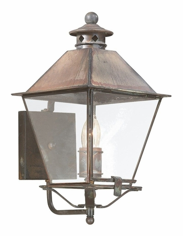 BCD9131NR Troy Solid Brass Exterior Montgomery 1Lt Wall Lantern Medium with Natural Rust Finish