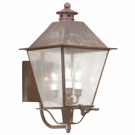 BCD9134NR Troy Solid Brass Exterior Montgomery 3Lt Wall Lantern Large with Natural Rust Finish