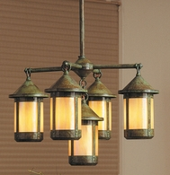BCH-6-4-1 Arroyo Craftsman Sixty-Three Inch Berkeley Four-Light Chandelier plus Center Light