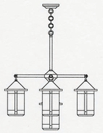 BCH-7-4-1 Arroyo Craftsman Seven-inch Berkeley Four-Light Chandelier plus Center Light