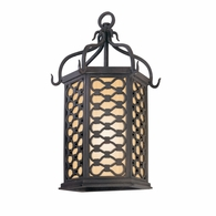 BF2371OI Troy Hand-Worked Iron Exterior Los Olivos 1Lt Pocket Lantern Fluorescent Small with Old Iron Finish