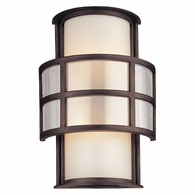 BF2732 Troy Hand-Worked Iron Interior/Exterior Discus 2Lt Wall Sconce Fl Medium with Graphite Finish