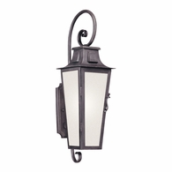 BF2962 Troy Hand-Forged Iron Exterior Parisian Square 1Lt Wall Lantern Fluorescent Medium with Aged Pewter Finish