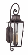 BF2963 Troy Hand-Forged Iron Exterior Parisian Square 1Lt Wall Lantern Fluorescent Large with Aged Pewter Finish