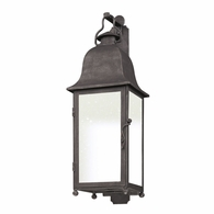 BF3212 Troy Hand-Worked Iron Exterior Larchmont 1Lt Wall Lantern Fluorescent Medium with Aged Pewter Finish