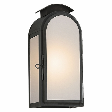 BF4401CI Troy Solid Brass Exterior Copley Square 1Lt Wall Small with Charred Iron Finish